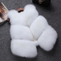 Wholesale fur vest gilet - Fashion Women Patchwork Faux Fur Gilet V-Neck Sleeveless Fur Coat Petite Ladies Short Faux-Fur Vest Overcoat CJG1005