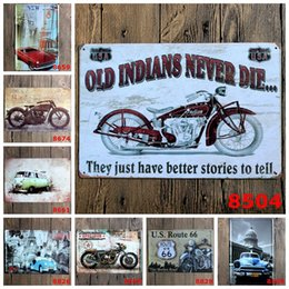 Wholesale Decoration Shop - Old Motorcycle Vintage Tin Signs Retro Metal Sign Antique Imitation Iron Plate Painting Decor Bar Cafe Pub Shop Restaurant(Mixed designs)