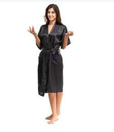 Wholesale Sexy Plus Size Robe Lingerie - Wholesale- High Quality Black Women Silk Rayon Robe Sexy Long Lingerie Sleepwear Kimono Yukata Nightgown Plus Size S M L XL XXL XXXL A-050