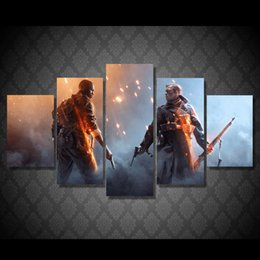 Wholesale Battlefield Poster - 5 Pcs Set Framed HD Printed Duel On The Battlefield Movie Picture Wall Print Poster Canvas Oil Painting Canvas Art