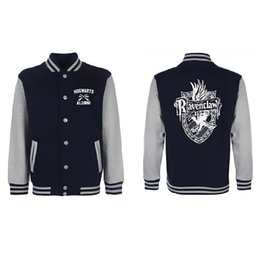 Wholesale Wholesale Jacket Buttons - Wholesale- 2017 Ravenclaw Quidditch New Fashion Baseball Jacket 329 For Men Rib Sleeves Stand Collar Hip Hop Cloth for Lovers