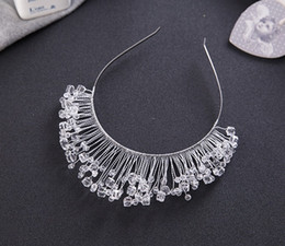 Wholesale Girls Pageant Crowning Dresses - Handmade Soft Chain Headdress Ladies Girl Tiara Crown Jewelry Manual Pageant Sparkling Evening Prom Party Dresses Accessories Supplier TM03