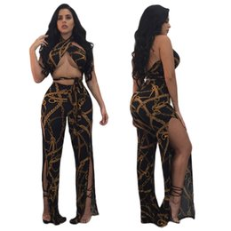 Wholesale Two Piece Women Jumpsuits - Woman Printing Two Piece Suits 2017 Summer Fashion Sexy Nightclub Side Split Sleveeless Halter Backless Bandage Bodycon Jumpsuits