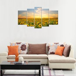 Wholesale Modern Paintings Framed - Canvas Prints Sunflower Picture Wall Art 5 Panels Landscape Painting Modern Artworks for Home Decoration with Wooden Framed Ready to Hang