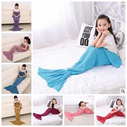 Wholesale Handmade Crochet Fish - Mermaid Crochet Blankets Mermaid Tail Blankets Kid Knitted Fish Tail Sleeping Bag Cartoon Handmade Costume Sofa Air-condition Blankets B2560
