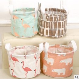Wholesale Wholesale Wire Baskets - Lovely Mini Table Storage Bag Flamingo Cotton Linen Folding Desk Organizer Desk Pen Container Organizer Wire Rack Sundries Storage Basket