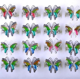 Wholesale Wholesale Stainless Steel Mood Rings - 100pcs beautiful butterfly mix color adjustable mood ring changes color to your temperature reveal your inner emotion cheap fashion jewelry