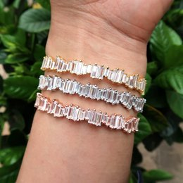 Wholesale Bracelet Thick - Wholesale- JaneKelly Fashion AAA cubic zirconia Man and Women Baguette bracelet bangle cuff copper base with Gold-Color,thick bangle