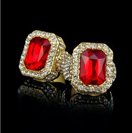 Wholesale Square Punk Rings - 2018 DJ rings punk ring Hip hop Ring iced Out Full Rhinestone Square Red Blue Green Gem Crystal Rings Jewelry men stainless 316L ring