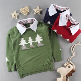 Wholesale Children Red Pullover Sweater - 2017 Autumn Winter New Shirt collar Plaid Kids Boys Sweater Christmas tree Children Clothing Baby Cotton thick wool top BOY JUMPER Pullover
