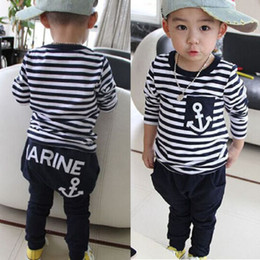 Wholesale Boys Striped Harem Pants - Boys Baby Childrens Clothing Sets Toddlers Kids Clothes Cotton Striped tshirts Harem Pants Set Legging Suits Children Sport Tracksuit Outfit