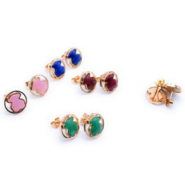 Wholesale Gem Jewelry - Women Very good quality natural agate, pink quartz gems stainless women jewelry stud earring OSO Son de acero inoxidable bears