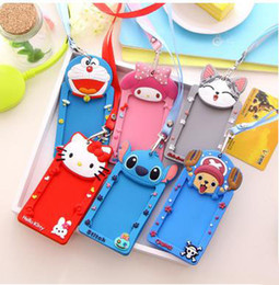 Wholesale Korean Style Stationery - 10pcs lot Cartoon Silicone ID Card Badge Holder Bus Card Case With Neck Lanyard Office Company Stationery