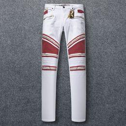 Wholesale trousers wing - Hot Sale Zipper Jeans Slim Stretch Mens Paris Classic Biker Jeans Denim Trousers With Wings American Flag Plus Size 30-42