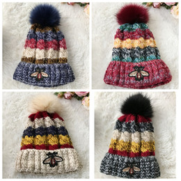 4bc702b8 New style Little bee Knitted cap for women Stereo jacquard cap Add cashmere  winter warm knitting cap Thickened wool hats