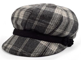 Wholesale Gray Tweed Wool - Stand Focus Women Cabby Baker Boy Gatsby Hat Newsboy Cap Ladies Fashion Wool Tweed Check Plaid Tartan Fall Winter Gray Crochet Special