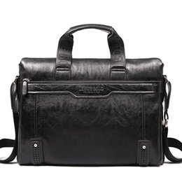 Wholesale Leather Bag For Notebook - Wholesale- 2016 Men Genuine Leather Briefcase Messenger Bags Men Bag For Notebook Nen Shoulder Bag Brand Leather Office Bags QT2008