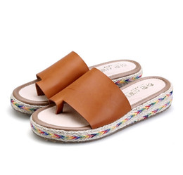 Wholesale Thick Platform Flip Flops - Plus size Thick Platform Slippers Flip Flops Summer Beach Shoes Woman Slides Girls Comfort Women Sandals Casual Female Flats