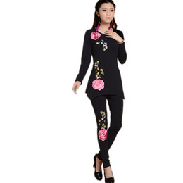 Wholesale Chinese Style Suits Women - Chinese Style Two Piece Sets Embroidery T Shirts Pants Set Femme Spring Summer Vintage Black White Blusas Feminina Tops Cotton Women Suit