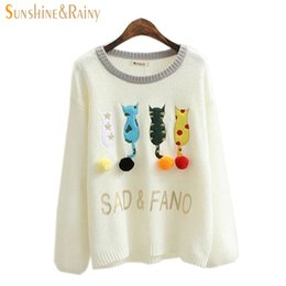 Wholesale Hand Spliced - Wholesale-new Autumn Winter Women cat embroidery sweater Splice Casual sweet cat with tail Pullover underwear For Girls Pullovers Tops