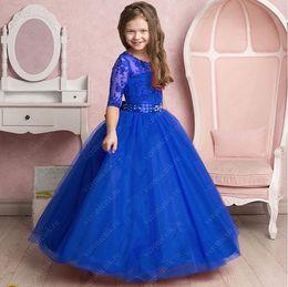 Wholesale Multi Color Beaded Pageant Dresses - Lace 2017 Arabic Flower Girl Dresses Half Sleeves Beaded Tulle Child Wedding Dresses Vintage Little Girl Pageant Dresses FG01
