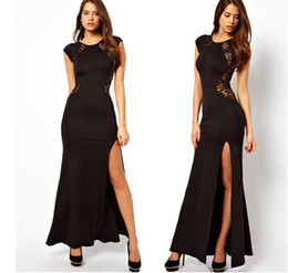 Wholesale Trendy Lace Cocktail Dresses - New Fashion Sexy Trendy Elegant Womens Slim Long Maxi Lace Gown Bodycon Evening Cocktail Party Dress