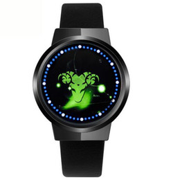 Wholesale Touchscreen Wristwatch - New Touch Screen LED Constellation Smart Watch Genuine Leather 60 Blue Lights Men Ladies Waterproof Touchscreen Digital Concept Wristwatch