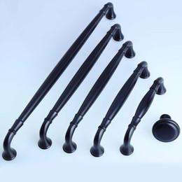 Wholesale Door Hardware Handle - black furniture handles 96mm 128mm 160mm 192mm 256mm cabinet drawer knobs pulls dresser door metal hardware pull