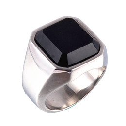 Wholesale Rings Large Stones - Thailand Quality Brand New White Gold Plated Titanium Stainless Steel Rings Men Jewelry Vintage Black Stone Large Ring Size 7-12