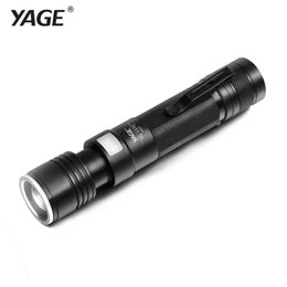Wholesale Rechargeable Flashlight Mode - YAGE YG-337C T6 2000LM Aluminum Zoomable 5-Modes CREE LED USB Clip Flashlight Torch Light for 18650 Rechargeable Battery