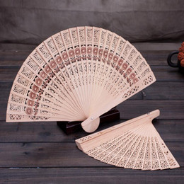 Wholesale small chinese fans - Bridal Wedding Fans Chinese Wooden Fans Bridal Accessories Handmade 8'' Fancy Cheap Wedding Favours Small Gifts for Guests Ladies Hand Fans