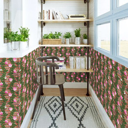 Wholesale Vine Floral For Living Room - Vinyl Self-adhesive Wallpapers Flowers Vine Wall Stickers Living Room Bedroom Entrance Door Garden Cabinet Student Bedroom Decor