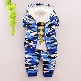 Wholesale Suits Coats T Shirt Pants - 2017 Autumn Children Clothes Suits Baby Girls Boys Suits Camouflage Color Cotton Hooded Coats+T Shirt+Pants Infant kids Casual Suits
