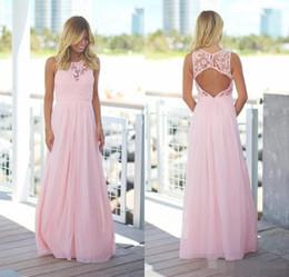 Wholesale Red Maxi Backless Dress - Blush Pink Lace Chiffon Beach Bridesmaid Dresses 2017 Sleeveless Jewel Neck Open Back A-line Country Maxi Bridesmaid Dress