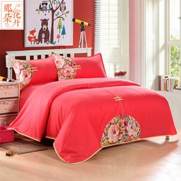 Wholesale Red Wedding Bedding Set - 4 Pieces sets Luxury Traditional Chinese Style 100% Cotton Wedding Bedding Sets Red Embroidery Silk Free Shipping