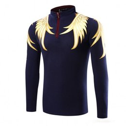 Wholesale Black Polo Large - Stand Collar Men Long Sleeve Polo Brand Spring 2017 Fashion Golden Wings Print Long Sleeve Polo Large Size L- XXXL Free Shipping