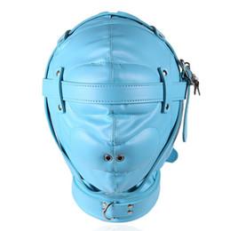 Wholesale Sm Mask Sex - Fetish Leather Bondage Gear Mask SM Totally Enclosed Mask With Lock Slave Restraints BDSM Sex Toys For Couples