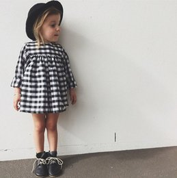 Wholesale Toddler Cotton Dresses Sleeves - Black And White Plaid Toddler Baby Girls Dresses Long Sleeve Cotton Summer Party Princess Dresses For Kids Children's Clothes
