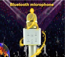 Wholesale Outdoor Songs - Q7 Microphones Bluetooth Speakers Magic Karaoke K Song Power Bank Mini Portable Wireless Microphones Outdoor home KTV Free DHL