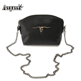 Wholesale Cow Skulls Wholesale - Wholesale-2016 Halloween Women Messenger Bags Cow Skull Chain Vintage Lady Small Bags Leather Crossbody Girls Satchel Flap Shoulder Bag