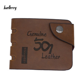 Wholesale Retro Leather Wallets For Men - Baellerry 2017 New Leather Wallet Retro Hollow Men Pockets Card Clutch Purses Bifold Purse Slim Coin Holder For Men Wallets