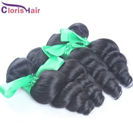 Wholesale Mix Colors Online - Mix 4 Bundles Indian Loose Wave Curly Hair Raw Unprocessed Loose Wavy Remi Hair Weave Cheap Loose Curl Human Hair Extensions Online