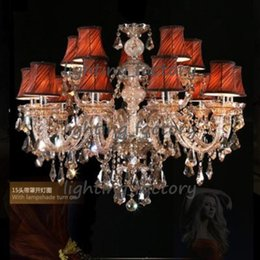 Wholesale Crystal Chandeliers Lamp Shade - modern crystal chandelier Led lamps discount wholesale low price 15 lights Luxury led chandeliers fabric shades candle holder