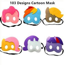 Wholesale Masquerade Party Kids Costumes - Halloween Cosplay Masks 103 Designs 2 Layer Cartoon Felt Mask Costume Party Masquerade Eye Mask Children Kids Christmas Birthday Gift