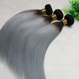 Wholesale Wholesale Gray Weaving Hair - Ombre Grey Human Hair Weave Straight Brazilian Viegin Hair Bundles Two Tone Color Gray Hair Bundles Top Quality Best Seller