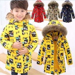 Wholesale Oxford Pads - 2017 NEW Kids Boys Cartoon Casual Winter Hooded 70% white duck down Padded Jacket Coat
