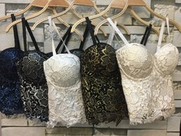 Wholesale crop lace tops - Wholesale- P265 New Gold Bronzing Embroidery Lace Push Up Women's Bustier Bralette Bra Cropped Top Vest Plus Size
