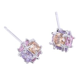 Wholesale Gold Plated Stud Ball Earring - 18K White Gold Plated AAA+ Multicolor White Cubic Zirconia CZ 7MM Small Square Ball Piercing Stud Earrings for Women Kids Girls