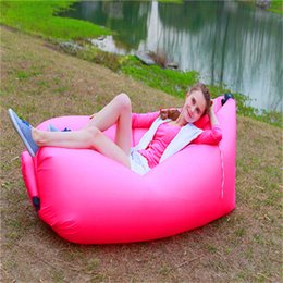 Wholesale Inflatable Boats Free Shipping - Fast Inflatable Air Sleeping Bag Portable Sofa Hangout Lounger Air Boat Air Lazy Sofa Inflate Camping Beach Sleeping Bed Free Shipping