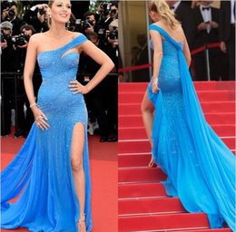 Wholesale Short Sexy Halter Dress - Blake Lively Zuhair Murad Blue Dress Cannes Film 2016 Red Carpet Fashion One-shoulder Beadings High Slit Formal Prom Dresses Evening